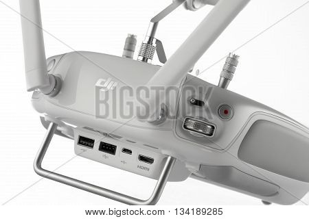 Varna Bulgaria - April 23 2016: ImageRemote controler of DJI Inspire 1 Pro drone UAV quadcopter which shoots 4k video and 16mp still images and is controlled by wireless remote with a range of 2km isolated on white
