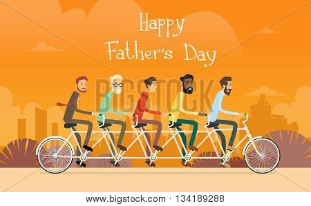 Father Day Holiday, Man Group Generation Ride Tandem Bicycle Flat Vector Illustration