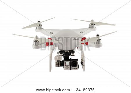 Varna Bulgaria - April 23 2016: Flying drone quadcopter Dji Phantom 2 with digital camera GoPro HERO4 isolated on white