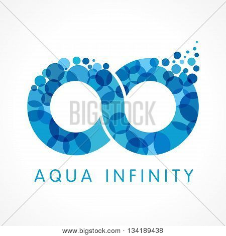 Mineral natural water vector infinity drop icon design. Aqua infinity logo. Sea wave bubble splash emblem