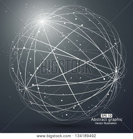 Point and curve constructed the sphere wireframe ,technological sense abstract illustration.