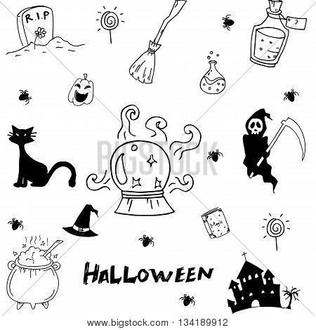 Halloween doodle vector art element on white backgrounds