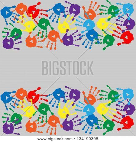 Background with a different cute colorful handprints