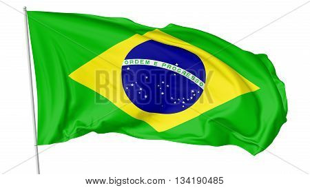 National Flag Of Brazil With Flagpole