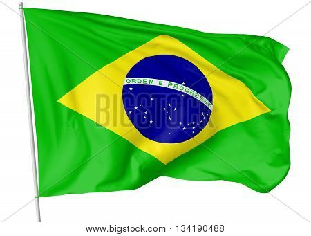 Flag Of Brazil With Flagpole