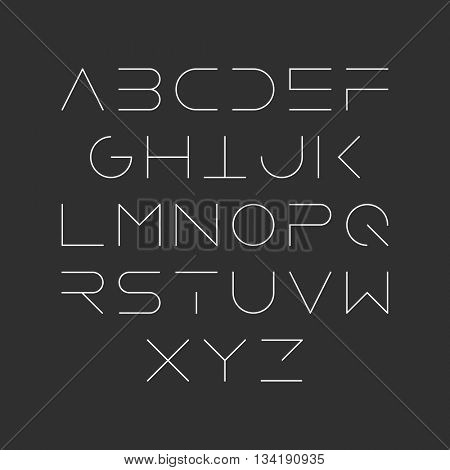 Extra thin line style, linear uppercase modern font. Vector design element.