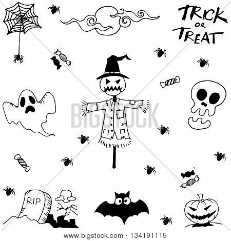 Doodle halloween scary with hand draw on white backgrounds