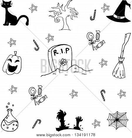 Set halloween doodle vector art with hand draw