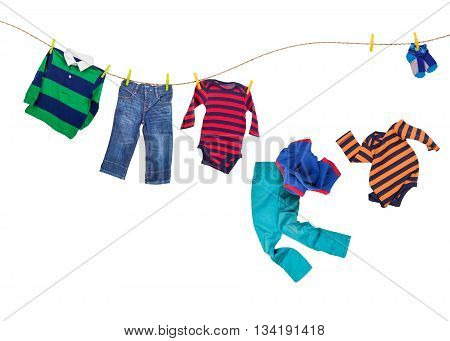 Laundry line with falling clothes on a white background