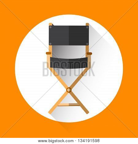 Director Chair Icon Film Industry Flat Vector Illustration