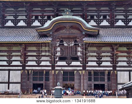 NARA, JAPAN - JUNE 6, 2016: The front of Great Buddha Hall at Todai-ji temple. That Hall is house of the world's largest bronze statue of Daibutsu. The temple is an UNESCO World Heritage Site.