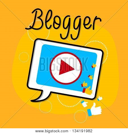 Video Blog Tablet Player Interface Icon Blogging Concept Flat Vector Illustration