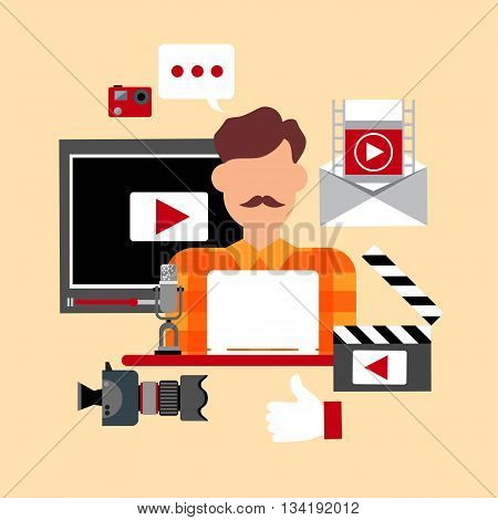 Video Blogger Blog Icon Concept Flat Vector Illustration