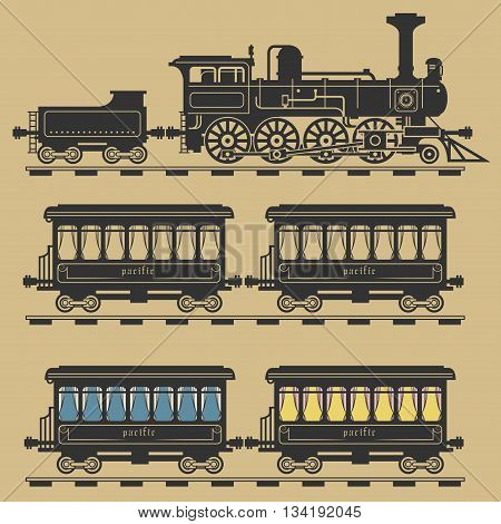 Locomotive train set on color background, vector illustration
