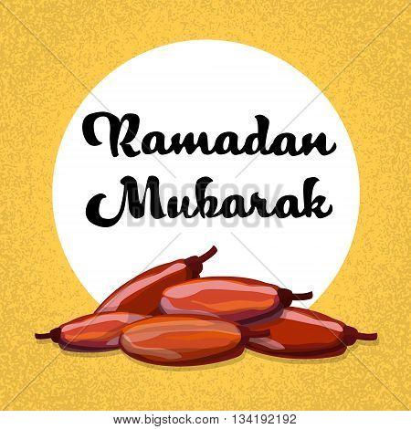 Dry Date Fruit Ramadan Mubarak Vector Illustration