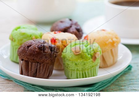 Assortment of muffins vanilla, chocolate, pandan on a white plate. Outdoor tropical background.