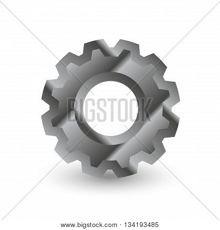 gear maden from metal with shadow, settings icon