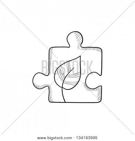 Puzzle with leaf vector sketch icon isolated on background. Hand drawn Puzzle with leaf icon. Puzzle with leaf sketch icon for infographic, website or app.