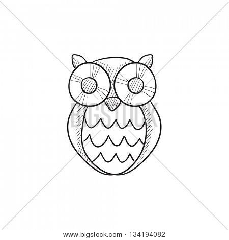 Owl vector sketch icon isolated on background. Hand drawn Owl icon. Owl sketch icon for infographic, website or app.