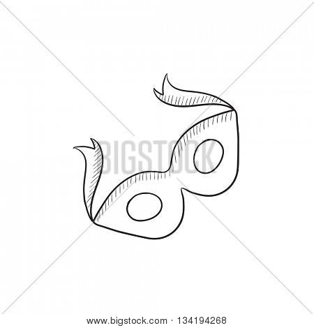Carnival mask vector sketch icon isolated on background. Hand drawn Carnival mask icon. Carnival mask sketch icon for infographic, website or app.