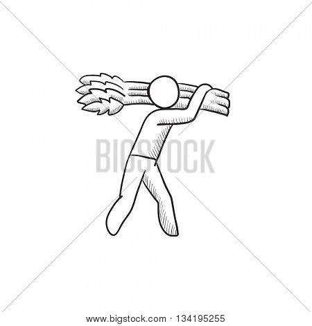 Man carrying wheat  vector sketch icon isolated on background. Hand drawn Man carrying wheat  icon. Man carrying wheat  sketch icon for infographic, website or app.