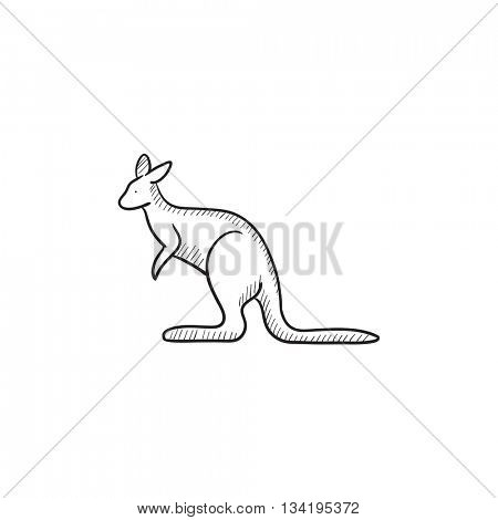 Kangaroo vector sketch icon isolated on background. Hand drawn Kangaroo icon. Kangaroo sketch icon for infographic, website or app.