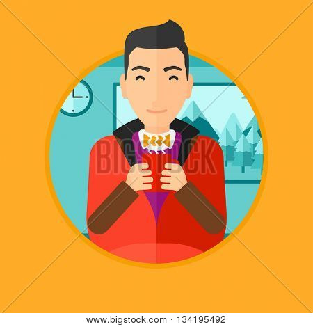 Man relaxing under blanket with cup of coffee. Man drinking coffee at home. Man holding cup of hot flavored coffee. Coffee lover. Vector flat design illustration in the circle isolated on background.