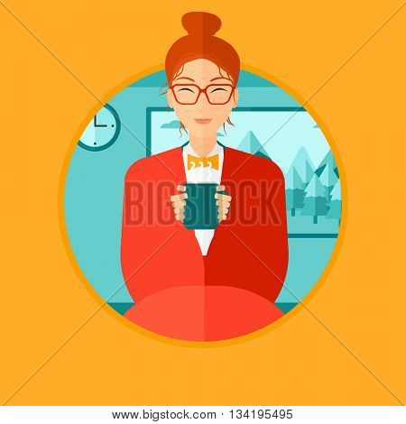 Woman relaxing under blanket with cup of coffee. Woman drinking coffee at home. Woman holding a cup of hot flavored coffee or tea. Vector flat design illustration in the circle isolated on background.