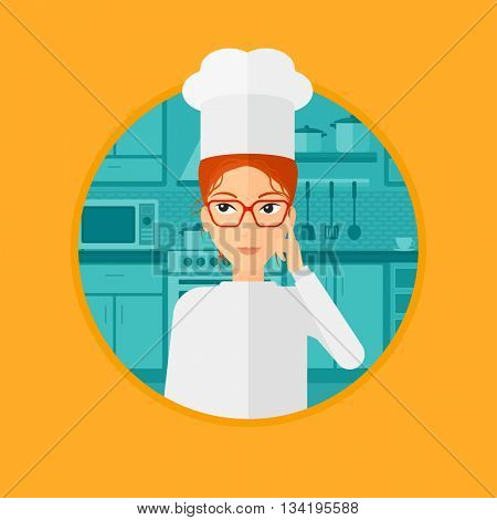 Chief-cooker in uniform standing in the kitchen and pointing forefinger up. Chef thinking about the recipe. Chef having an idea. Vector flat design illustration in the circle isolated on background.