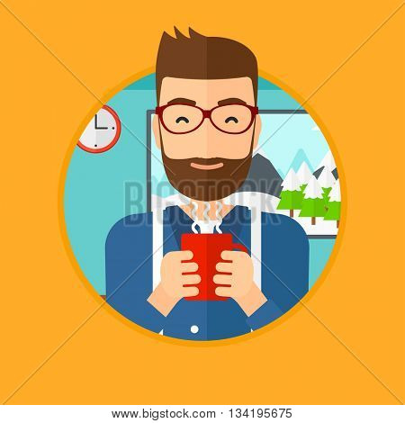 A hipster man with the beard drinking hot flavored coffee. Young smiling man with cup of coffee. Man enjoying coffee at home. Vector flat design illustration in the circle isolated on background.