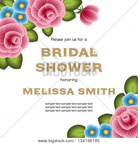 Bridal shower invitation template with flowers. Illustration in one stroke painting style. Vector