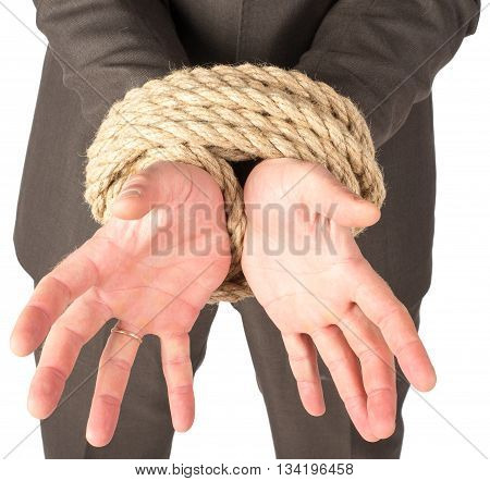 Closeup of bound hands isolated on white background