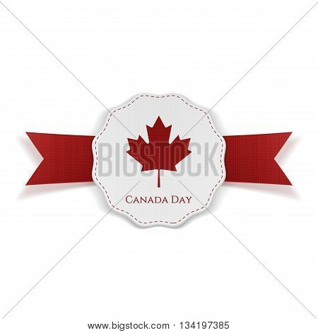 Canada Day realistic red and white festive Tag. Vector Illustration