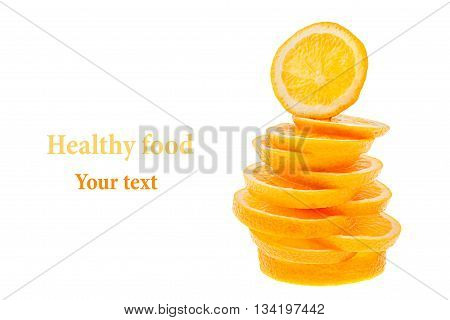 Pile of slices of sliced oranges on a white background. Isolated. Copy space. Fruit background. Concept art.