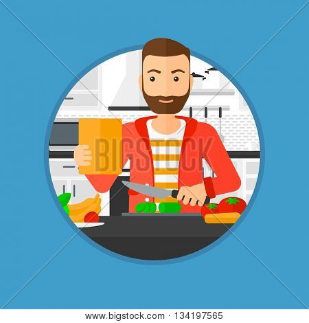 Man cutting vegetables for salad. Man following recipe for salad on digital tablet. Man cooking vegetable salad in the kitchen. Vector flat design illustration in the circle isolated on background.