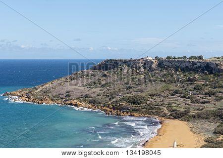 View on Ramla Bay on Malta on Mediterranean Sea Europe.