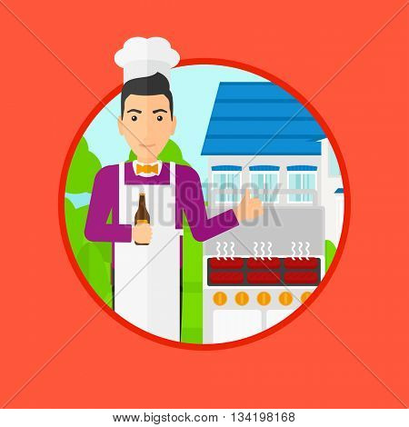 Man with bottle in hand cooking meat on gas barbecue grill in the backyard and giving thumb up. Man cooking meat on barbecue. Vector flat design illustration in the circle isolated on background.