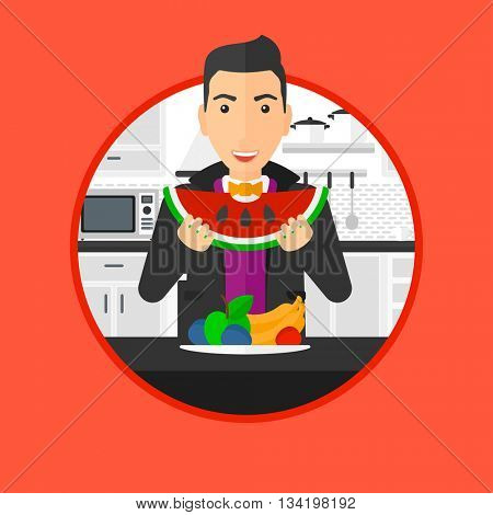Man eating watermelon in front of table full of fresh fruits. Smiling young man holding a slice of watermelon in the kitchen. Vector flat design illustration in the circle isolated on background.