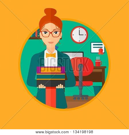A young woman holding pile of books. Woman with pile of books in hands at home. Smiling student with stack of books. Vectr flat design illustration in the circle isolated on background.