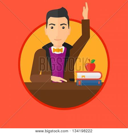 Student raising hand in the classroom for an answer. Student sitting at the table with raised hand. Vector flat design illustration in the circle isolated on background.