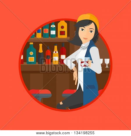 A young woman sitting at the bar counter. Woman sitting with glass in bar. Cheerful young woman sitting alone at the bar counter. Vector flat design illustration in the circle isolated on background.