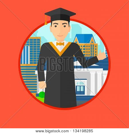 A graduate in cloak and graduation cap. A graduate giving thumb up. Graduate celebrating on a background of educational building. Vector flat design illustration in the circle isolated on background.
