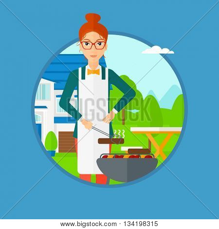 Woman cooking meat on the barbecue grill in the backyard. Woman preparing food on barbecue grill. Woman having outdoor barbecue. Vector flat design illustration in the circle isolated on background.
