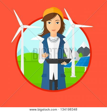 A worker of solar power plant and wind farm. Worker with tablet computer on a background of solar power plant and wind turbines. Vector flat design illustration in the circle isolated on background.