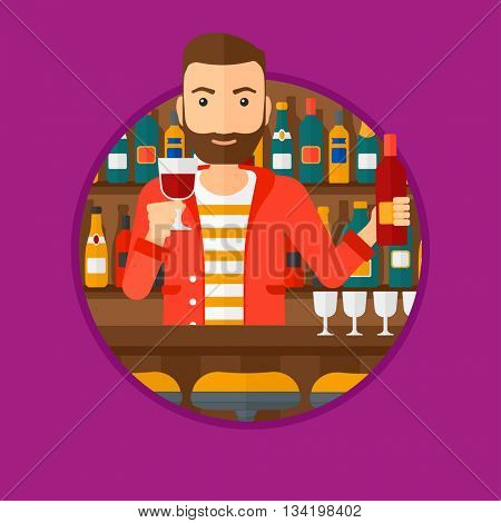 A hipster bartender with the beard standing at the bar counter. Bartender with a bottle and a glass in hands. Bartender at work. Vector flat design illustration in the circle isolated on background.