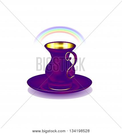 white background and the large purple golden cup with rainbow