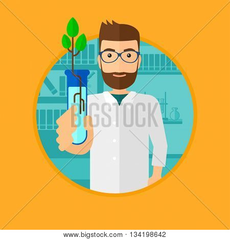 Scientist holding test tube with young plant. Scientist analyzing plant in test tube. Scientist holding test tube with sprout. Vector flat design illustration in the circle isolated on background.