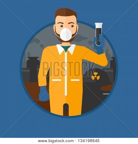A hipster man with the beard in radiation protective suit. Man in radiation protective suit holding a test-tube with black liquid. Vector flat design illustration in the circle isolated on background.