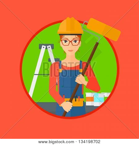 A painter in uniform with a paint roller in hands. Painter at work in an apartment with paint cans and ladder. Painter vector flat design illustration in the circle isolated on background.