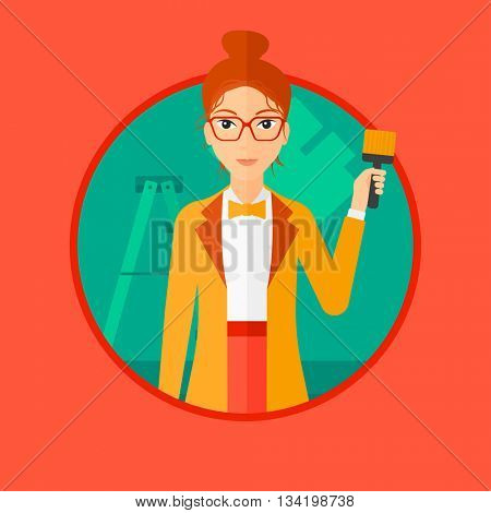 A female painter holding a paint brush. Painter painting walls with paint brush at home. House renovation concept. Vector flat design illustration in the circle isolated on background.